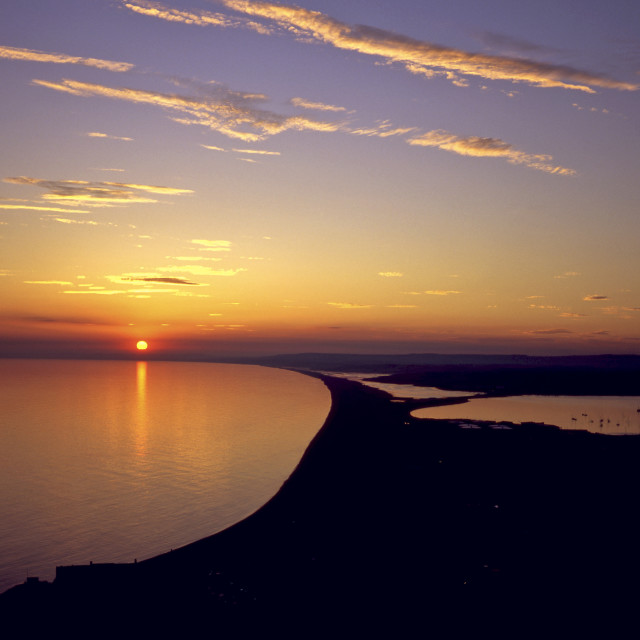 """Chesil Sunset"" stock image"