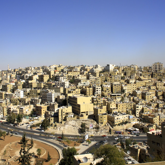 """The city of Amman against blue sky from the Citadel, Jordan"" stock image"