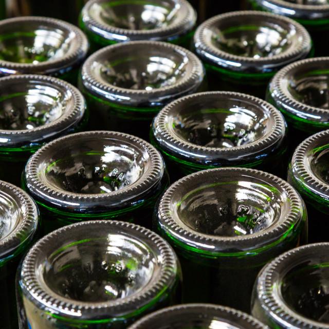 """""""Green Wine Bottles"""" stock image"""