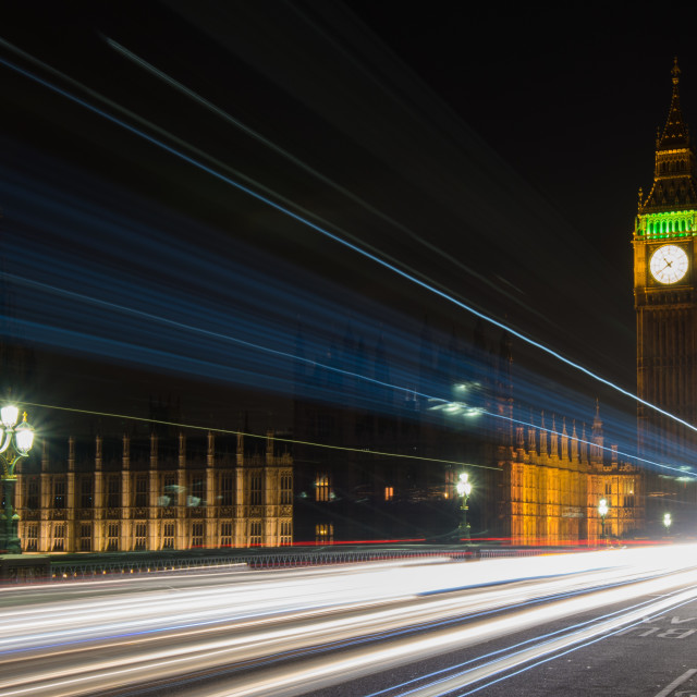 """Big Ben Light Trail"" stock image"