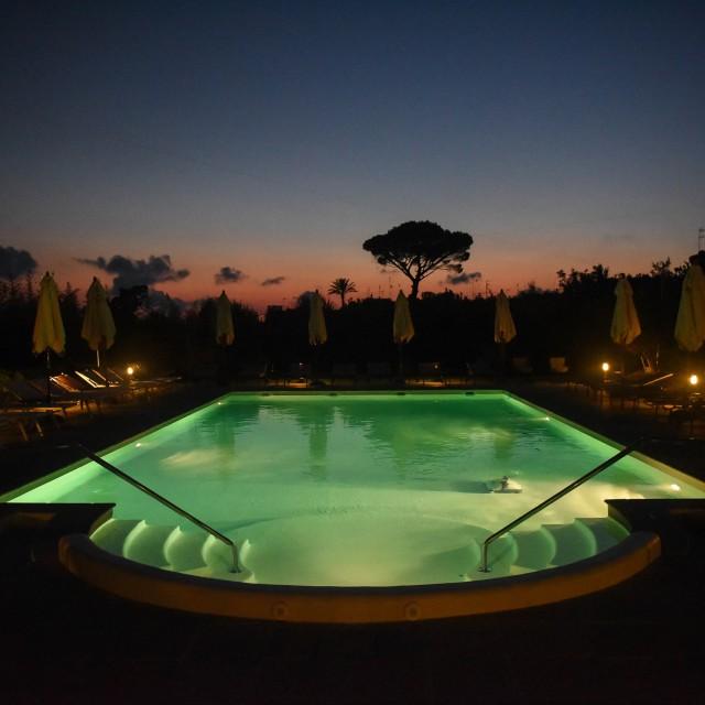 """Pool in the night"" stock image"