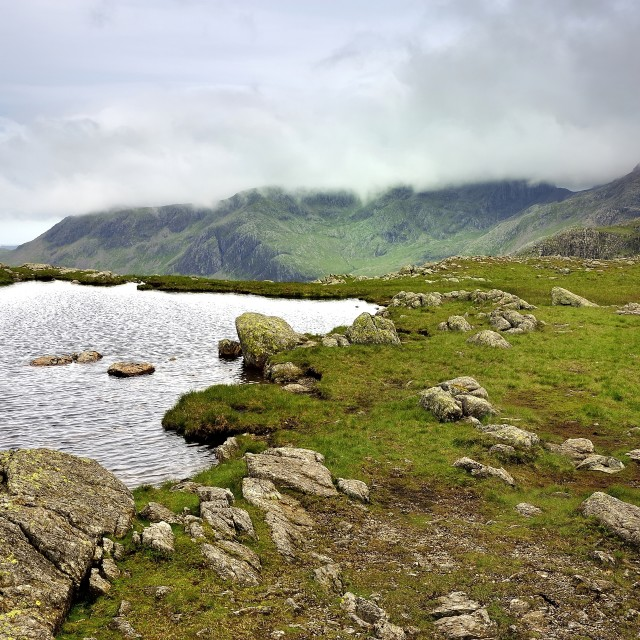 """Clouds over the Scafells"" stock image"
