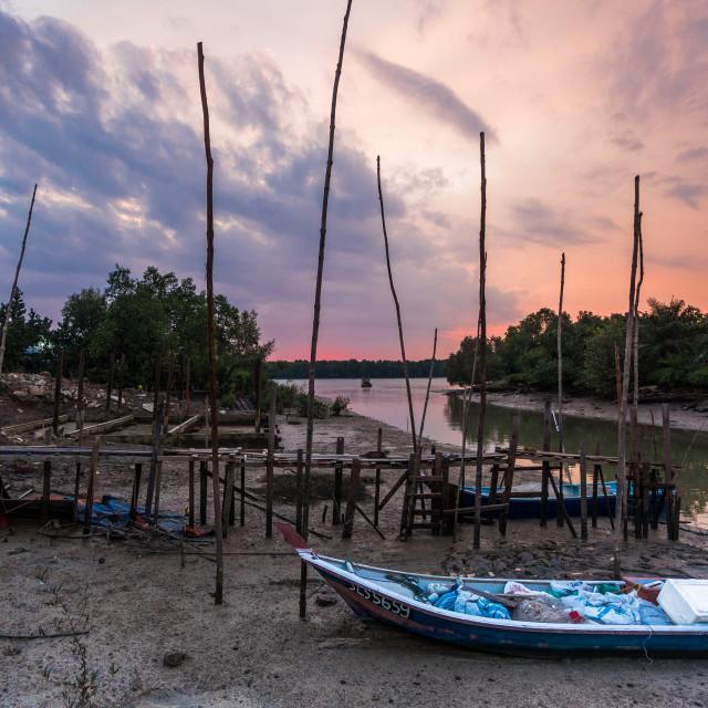"""Malaysia fishing village"" stock image"