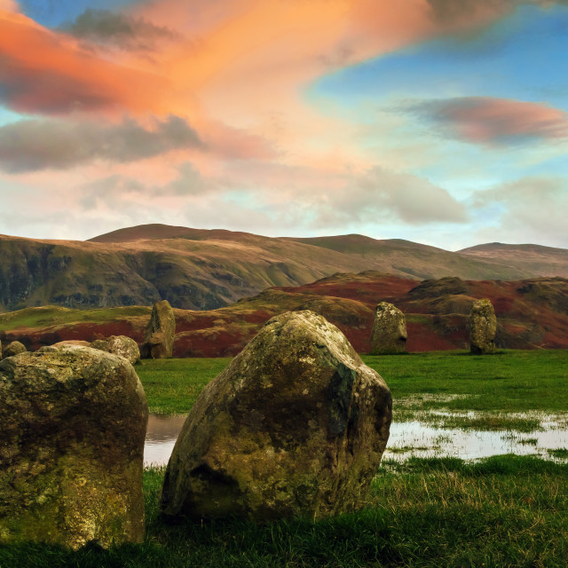 """Colourful clouds over Castlerigg"" stock image"