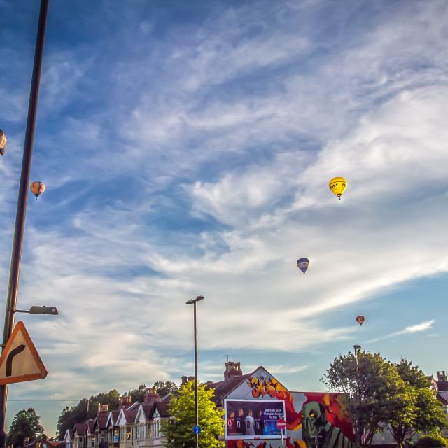 """Hot Air Balloons Over Bristol Street"" stock image"