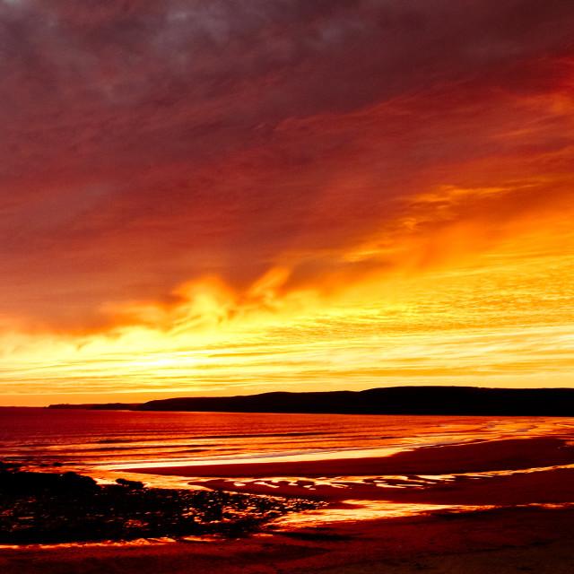 """""""Freshwater West Sunrise"""" stock image"""