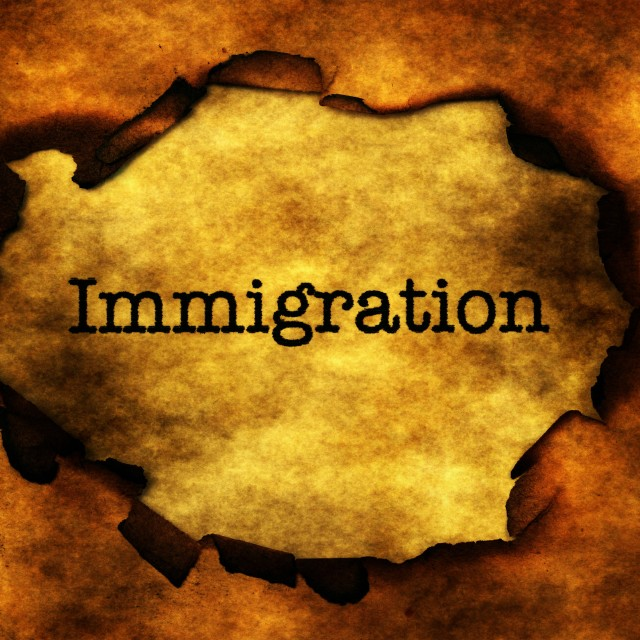 """""""Immigration text on burning paper hole"""" stock image"""