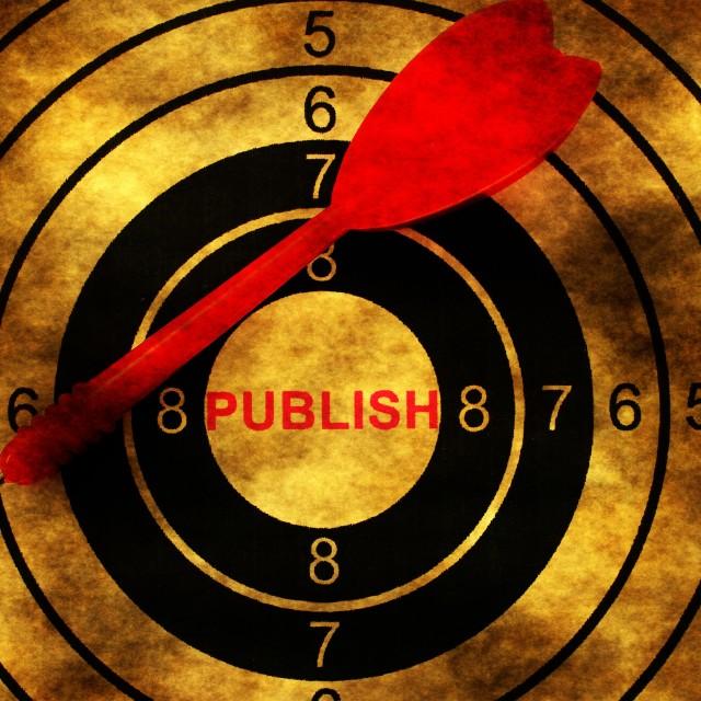 """Publish target on grunge background concept"" stock image"