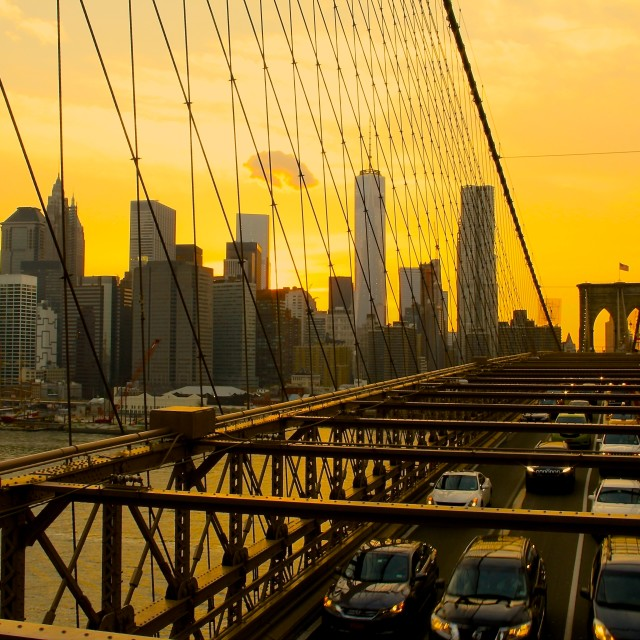 """sun set from brooklyn bridge"" stock image"