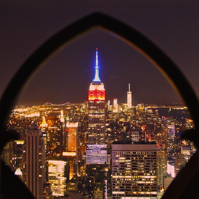 """""""empire state thru the arches"""" stock image"""