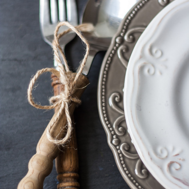 """""""Beautiful arrangement of plates and cutlery"""" stock image"""
