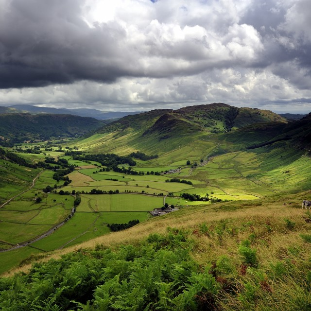 """""""The Great Langdale Valley"""" stock image"""