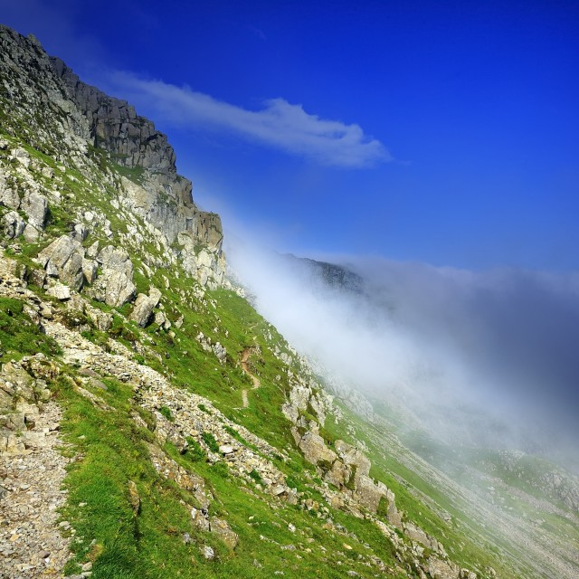 """""""Mist and the Climbers Traverse"""" stock image"""