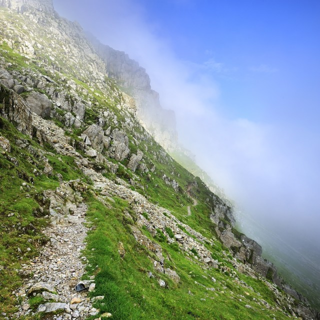 """""""Mist approaching the Climbers Traverse"""" stock image"""