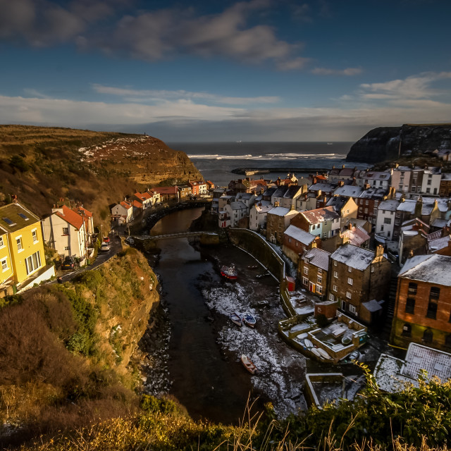 """""""Winter at Staithes"""" stock image"""