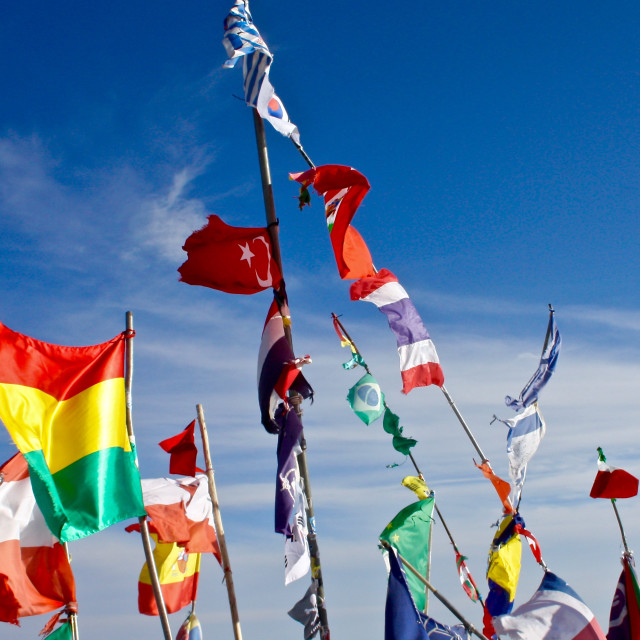 """""""Flags blowing in the wind, Bolivia"""" stock image"""