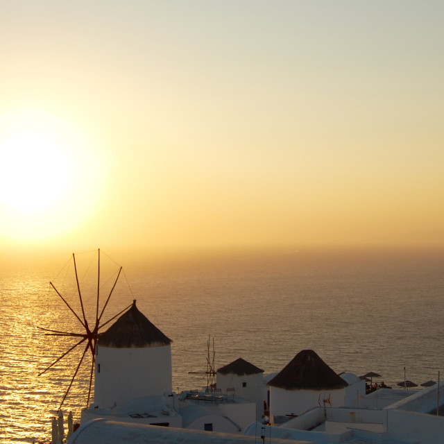 """Oia at sunset, Santorini, Greece."" stock image"