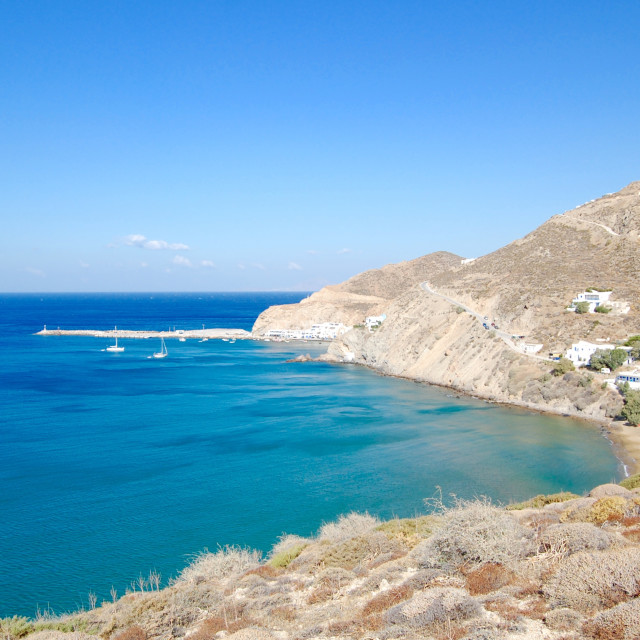 """Rocky coastline on the Mediterranean Sea, Greece"" stock image"