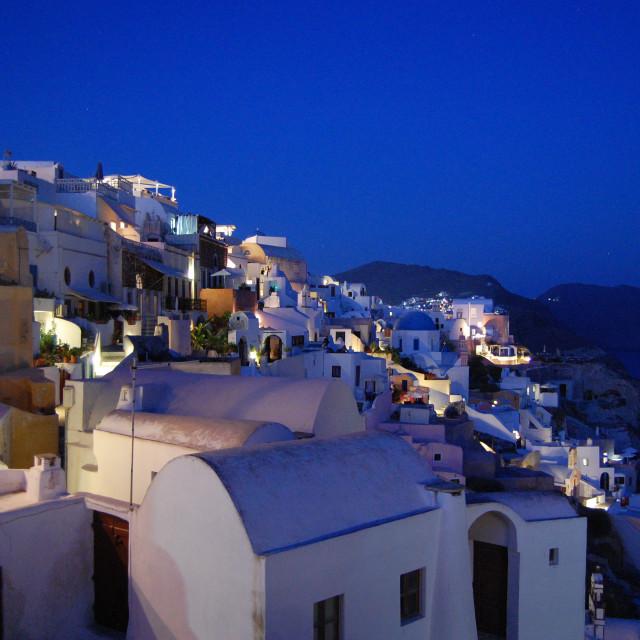 """Lights of Oia at night, Santorini, Greece."" stock image"