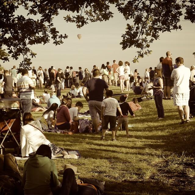 """Spectators Watching Bristol Balloons Sepia"" stock image"