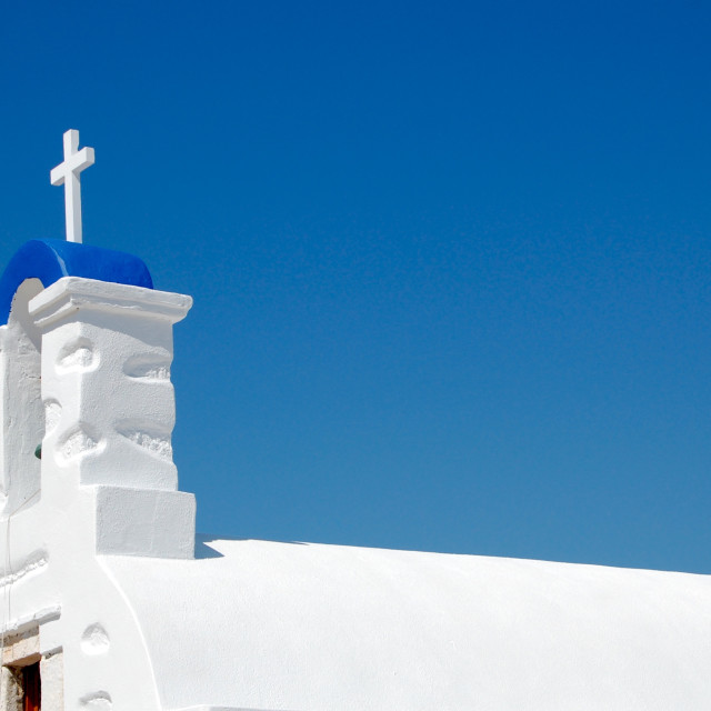 """White Greek church on the island of Anafi, Greece"" stock image"