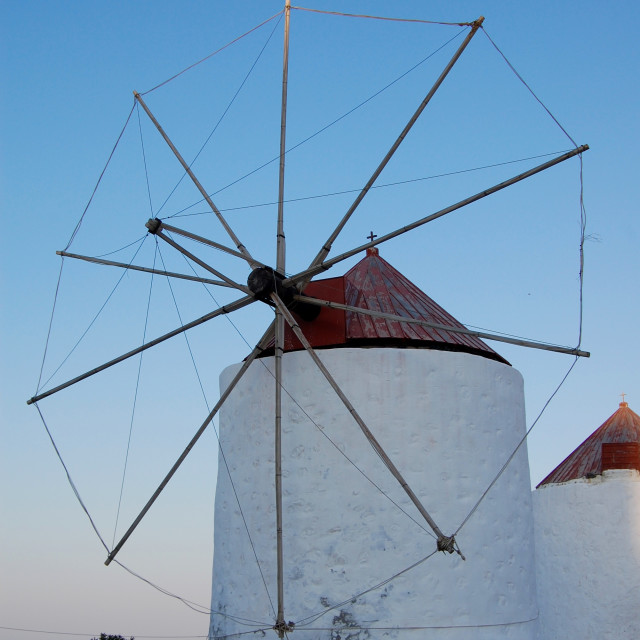 """""""A windmill on the island of Astypalea, Greece"""" stock image"""
