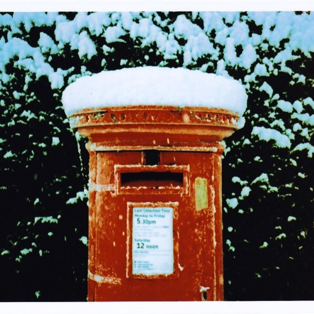 """""""Snow Covered Post Box"""" stock image"""