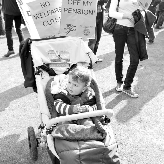 """""""Toddler Protest - No To Welfare Cuts!"""" stock image"""