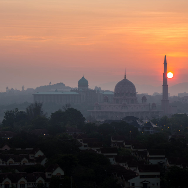 """A beautiful sunrise at Putra Mosque, Putrajaya"" stock image"