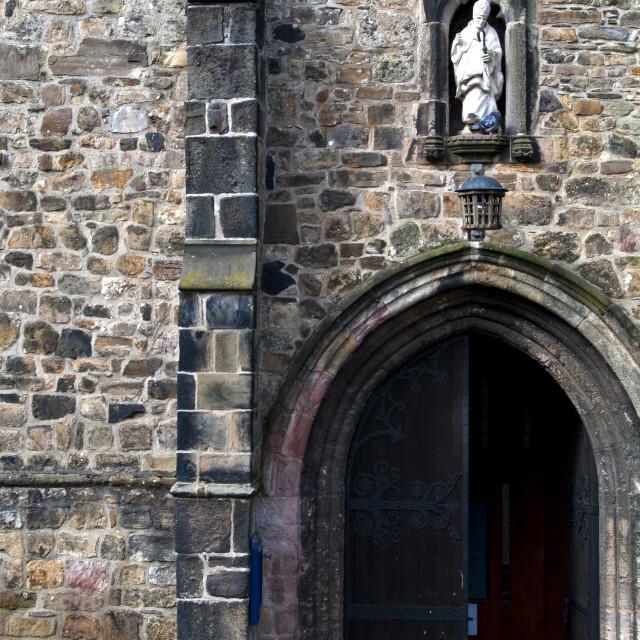 """Door, Bangor Cathedral"" stock image"