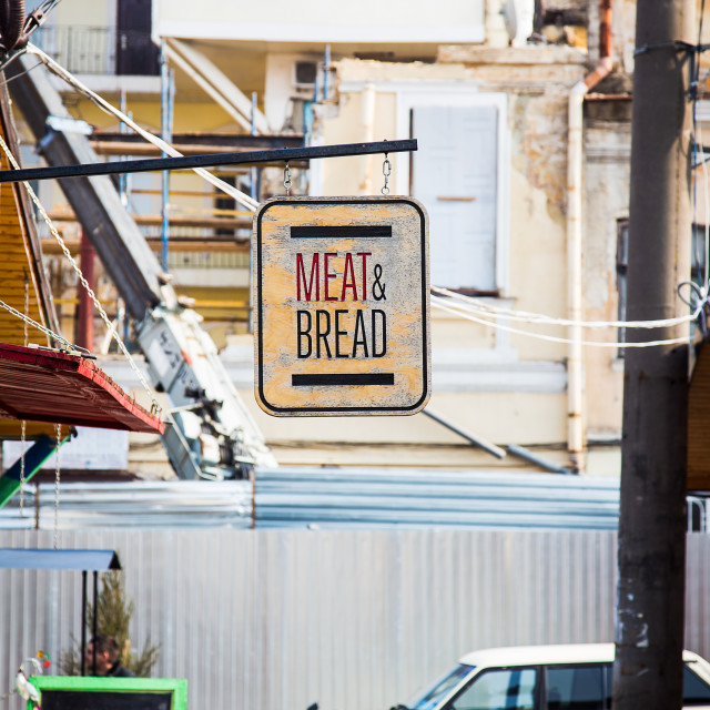 """Meat and bread sign"" stock image"