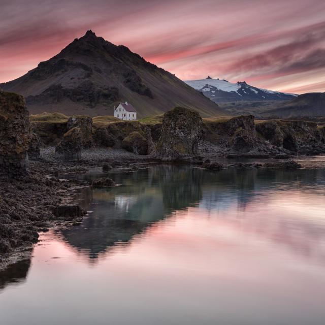 """""""Fishing village pink sunset"""" stock image"""