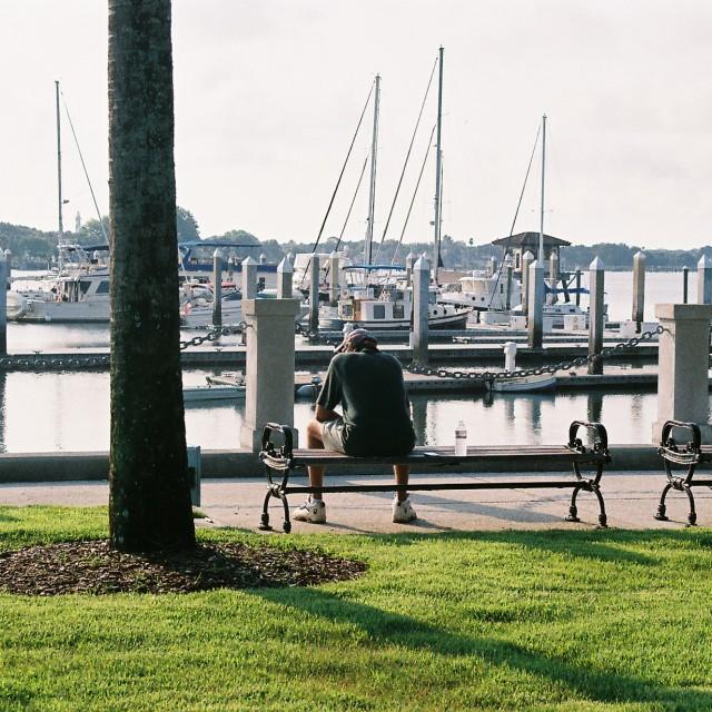 """Harbour man, St Augustine, Florida, USA"" stock image"