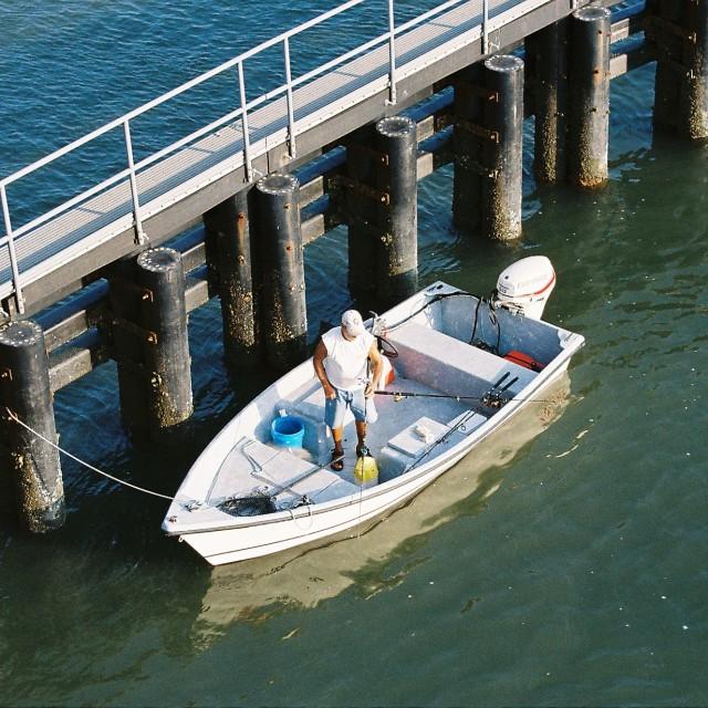 """Fisherman, St Augustine, Florida, USA"" stock image"