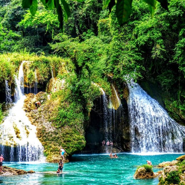 """Waterfalls and turquoise pools Semuc Champey, Guatemala."" stock image"