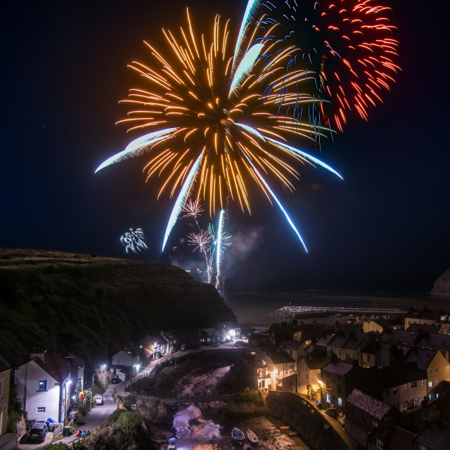 """""""Staithes Fireworks"""" stock image"""