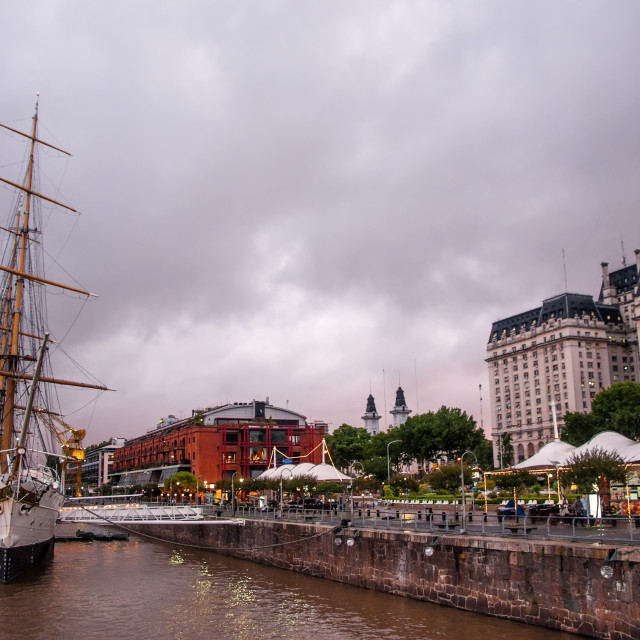 """""""Old Ship and View of Puerto Madero"""" stock image"""