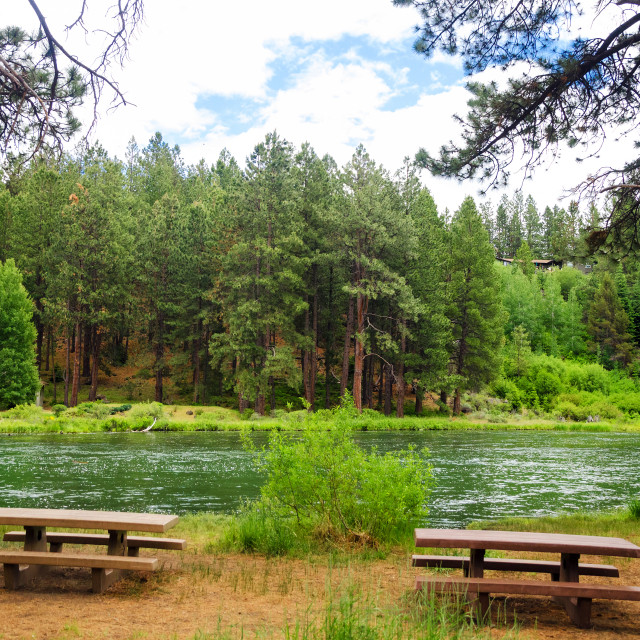 """""""Picnic Tables and River"""" stock image"""