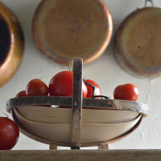 """A Trug of tomatoes"" stock image"