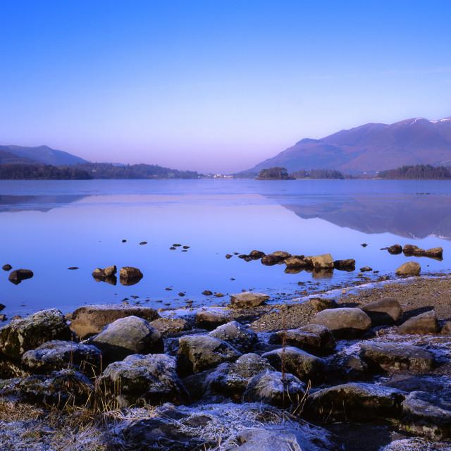 """""""Midwinter dusk, Derwentwater"""" stock image"""