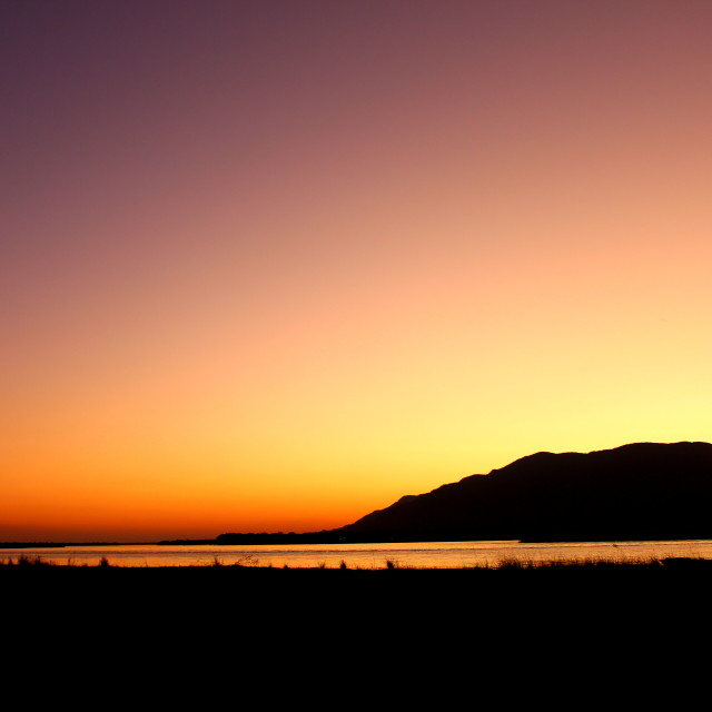 """Sunset over the river zambezi"" stock image"