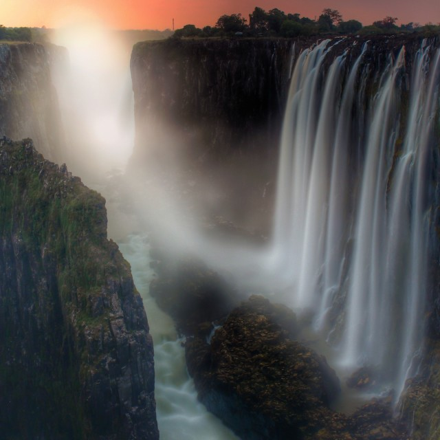 """Victoria falls at sunset"" stock image"