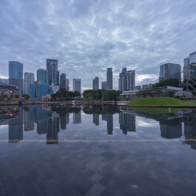 """""""cloudy sunrise at Kuala Lumpur city"""" stock image"""
