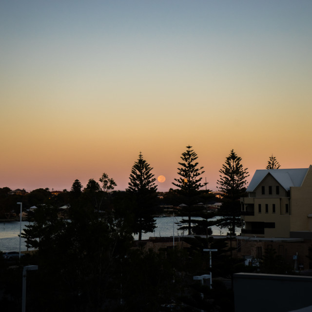 """moonrise at Mandurah, Australia"" stock image"