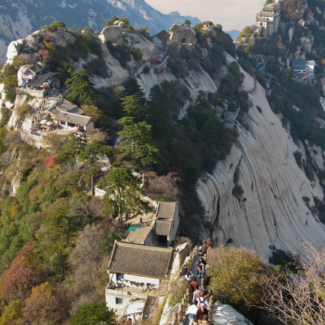 """The steep descents and ascents of Mount Huashan in China"" stock image"