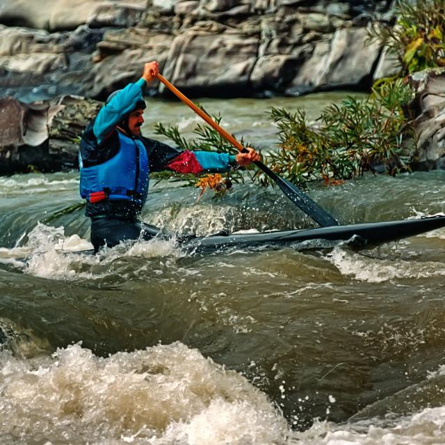 """canoeing the Cossatot"" stock image"