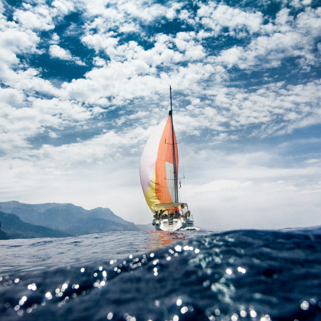 """Sailing alongside the coast of Mallorca."" stock image"