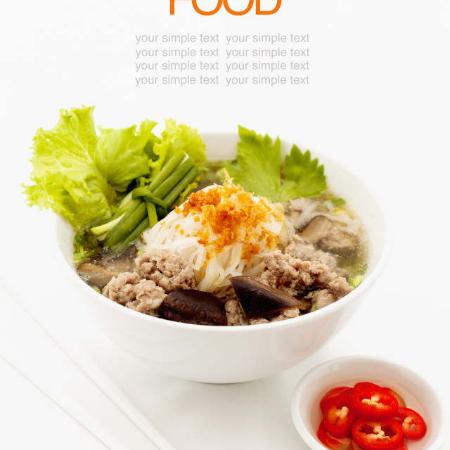 """""""Noodle soup cooked in soya sauce."""" stock image"""