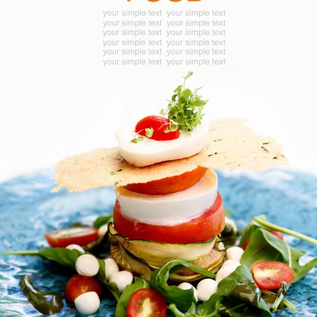 """""""Fresh mozzarella sandwich tomato and salad ."""" stock image"""