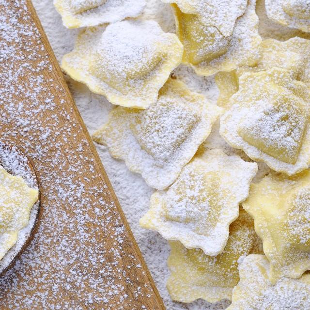 """Preparing fresh ravioli."" stock image"
